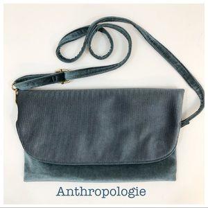 Anthropologie Blue Velvet Crossbody Bag Purse